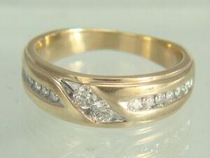 Mens 14K Yellow Gold Round Cut .44ctw Diamond Wedding Band 8.3 gms Size 9.5