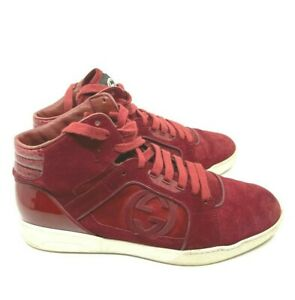 GUCCI Men's Hightop Red Suede Sneakers GG Logo Rubber Sole Red Lace Up Size 8 G