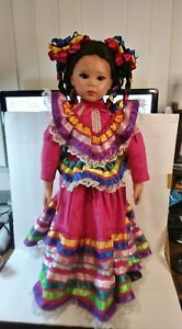 """Petra Rosales Porcelain Doll Traditional Mexican Dress 24"""" Limited Ed 57/300"""