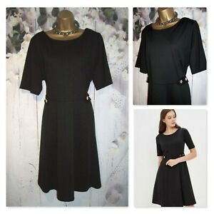 NEW LADIES WALLIS DRESS PLUS SIZE 20, Black Fit & Flare Smart Occasion Dress