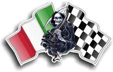 Grim REAPER Muerte Diseño con Italia Bandera Italiana Vinilo Pegatina de Coche 130x80mm
