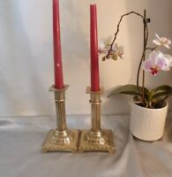 ANTIQUE GEORGIAN BRASS CANDLESTICKS-CORINTHIAN COLUMNS-NEO CLASSICAL-CIRCA 1810