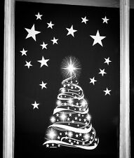 White Christmas Star Tree with Individual Stars Static Cling Window Stickers