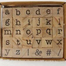 Wooden Stamps 30 Alphabet Set Lowercase Alpha Symbols