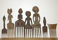 GROUP OF SEVEN (7) WEST AFRICA OLD WOOD COMBS  - FROM VARIOUS TRIBES