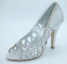 Tamaño 3 36 Blanco Marfil Plateado Brillo Diamante Zapatos De Novia Ocasión Especial BNWB