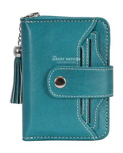 Small Women Wallet Genuine Leather RFID Blocking Card Holder Bifold Small Purse