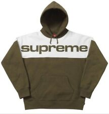 Supreme Blocked Hooded Sweatshirt Dark Olive Mens Hoodie Size Medium FW17 New