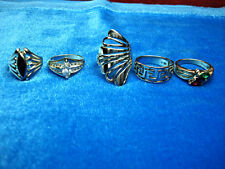 STERLING SILVER RING LOVERS  WHOLESALE LOT - 5 DIFF. EXCITING RINGS