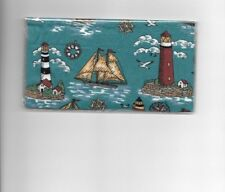 Lighthouse Checkbook Cover Ships Ocean Sea Fabric
