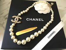 New NIB Authentic Chanel Pearl 100 Yrs Necklace Crystal Logo Gold Chain Classic