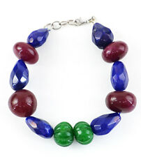 & Ruby Faceted Beads Handmade Necklace 255.00 Cts Earth Mined Emerald, Sapphire