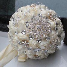 Diamantes de imitación de cristal de Marfil Boda Broche Novia Ramo mano sosteniendo flores nuevo