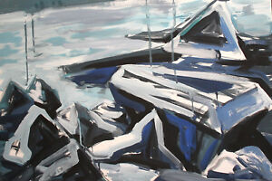 European gouache painting abstract expressionist seascape