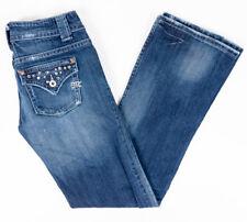 Miss Me Lucille Womens Jeans Rhinestone Button Flap Pockets Dark Wash Size 27