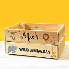 Personalised Kids Toy Wild Safari Animals Wooden Storage Toy Box Crate Childrens