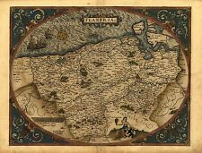 Ortelius Flandria Flandes Francia Bélgica Antiguo Mapa Antiguo Reproducción Cartel