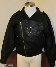 Black Leather Motorcycle Jacket by Rebel Force  - US Mens medium M-  excellent