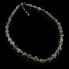 .925 Sterling Silver Natural Green Kingman Turquoise Necklace