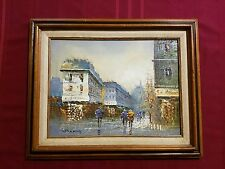 PAINTING CANVAS GAMMY SIGNED STREET SCENE FRAMED ORIGINAL VINTAGE CITY WALL ART