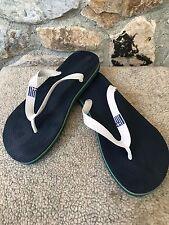 GREEK FLAG Sea Slippers Flip Flops Navy Blue Ocean Stripe Women's size 8