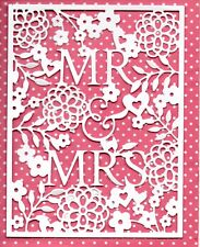 6 NEW MR & MRS FLORAL FRAME  DIE CUTS -  WHITE WEDDING TOPPER-ANNIVERSARY BRIDE
