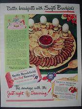 1947 Swift's Brookfield Pure Pork Sausage Meat Food Vintage Print Ad 12565