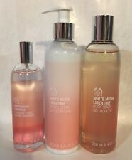 THE BODY SHOP WHITE MUSK LIBERTINE BODY LOTION, BODY WASH, AND FRAGRANCE MIST.