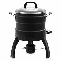 1650-W Tempered Glass Lid Wood Tray Oil-Free Electric Turkey Fryer and Roaster