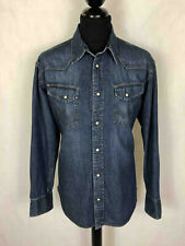 WRANGLER Camicia Uomo Jeans Denim Texas Western Country Man Shirt Sz.XL - 52