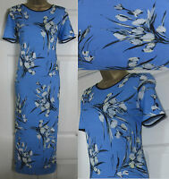 NEW EX M&S Midi Jersey Dress Summer Holiday Casual Floral Blue White Black 8-20