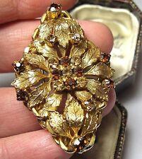 Gioielli vintage stile vittoriano tono oro cristallo ambra gioielli pin spilla