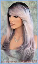 LONG COSTUME WIG HALLOWEEN PARTIES FANTASY *ROOTED ASH PINK NITE 1289
