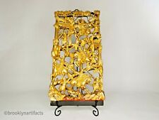 Antique Chinese Carved & Gold Gilt Wood Panel / Screen - Warriors on Horseback