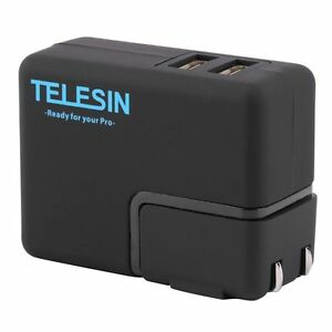 TELESIN Dual USB Wall Charger with US EU Adapter for Gopro Hero 4 3 3+ Camera