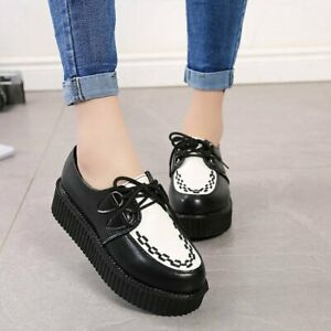 Womens Casual College Round Toe Oxfords Punk Wedge Heels Lace Up Platform Shoes