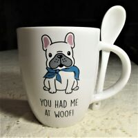 NEW Oversized Woof Dog Animal Lover Mug Tea Coffee Gift Set w//Spoon