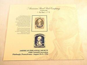 1994 American Philatelic Society Souvenir Card 1860 ninety-cent Washington