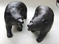 ANTIQUE PAIR BLACK FOREST BEARS CARVED WALNUT  BLACK FOREST GERMANY 1900's