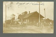 Chillicothe ILLINOIS RP c1910 C.R.I. & P. R.R. DEPOT Train Station TAXI WAGON