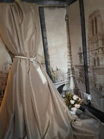 "NEW! Sublime Huge Classic Taffeta Silk Taupe Mink113""D76""W Interlined Curtains"