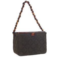 CHANEL Quilted Tortoiseshell Plastic Chain Hand Bag Brown Suede 4987691 WA00615f