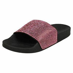 Ladies Spot On Fuchsia/Black Diamante Sliders : F10822