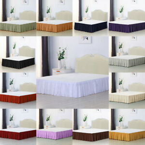 Solid Color Bed Skirt with Surface Queen King Easy On/Easy Off Bed Skirt Valance