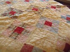 """Vintage Antique l Patchwork Quilt  Yellow Red blue 60X64"""""""