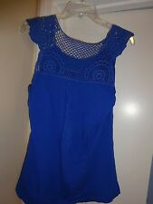 AVA & GRACE Ladies Size Large Blue Sleeveless Top Lace at top Casual NEW