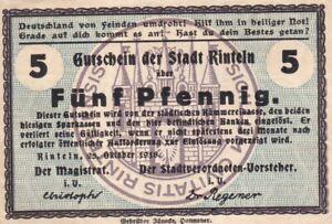 Germany Rinteln 5 Pfennig 1918 Notgeld Token (C283)