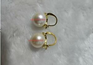 AAA 11-12mm real natural south sea white pearl earrings 14k filled Gold