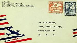 BRITISH GUIANA 1948 POST WWII KG VI 2v ON A/M COVER GEORGETOWN TO USA