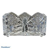 "Fifth Avenue Crystal Portico Divided Tea & Sugar Caddy Sawtooth Top 4"" W Poland"